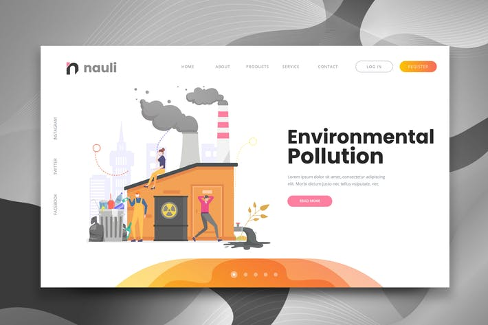 Thumbnail for Environmental Pollution Web PSD and AI Template