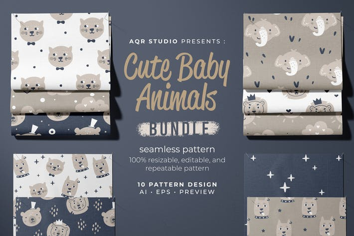 Cute Baby Animals - Seamless Pattern