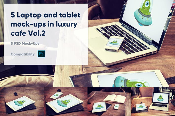 Thumbnail for 5 Laptop- und Tablet-Mock-Ups im Café Vol. 2