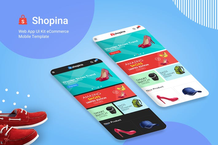 Cover Image For Shopina - Web App UI Kit eCommerce Mobile Template