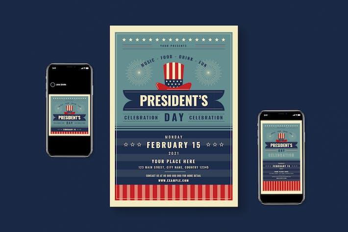 US President Day Flyer Set + Roll Banner