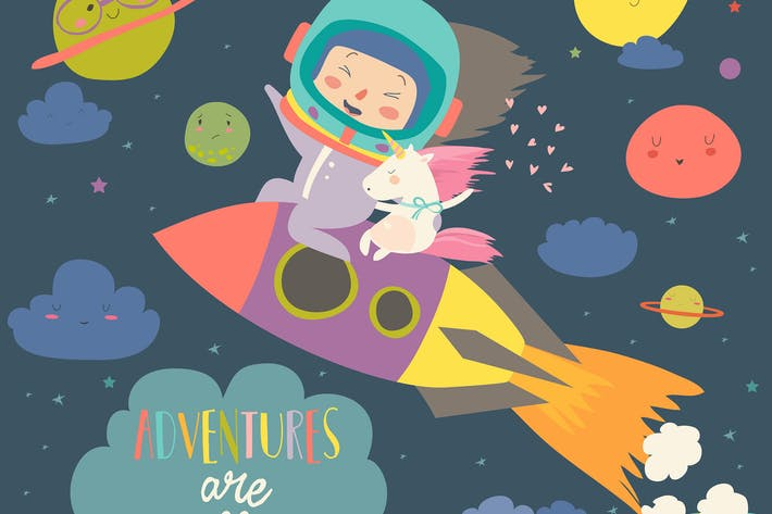 Cover Image For Girl astronaut with her unicorn riding a rocket.