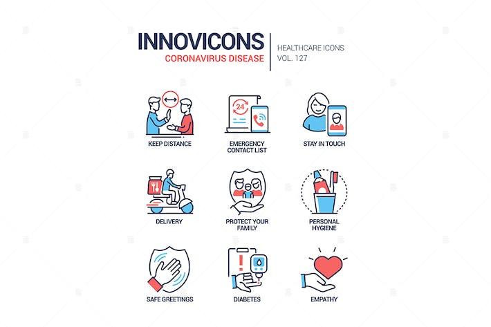 Thumbnail for Coronavirus-Krankheit - Linie Design Stil Icons Set