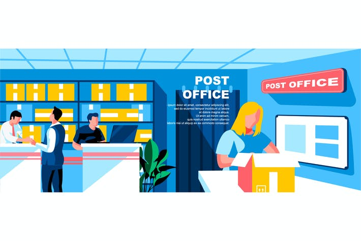 Thumbnail for Post Office Flat Concept Landing Page Header
