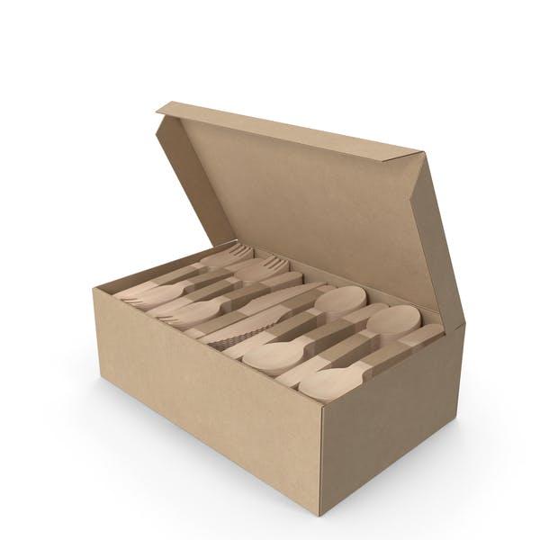 Cubertería de madera en una caja