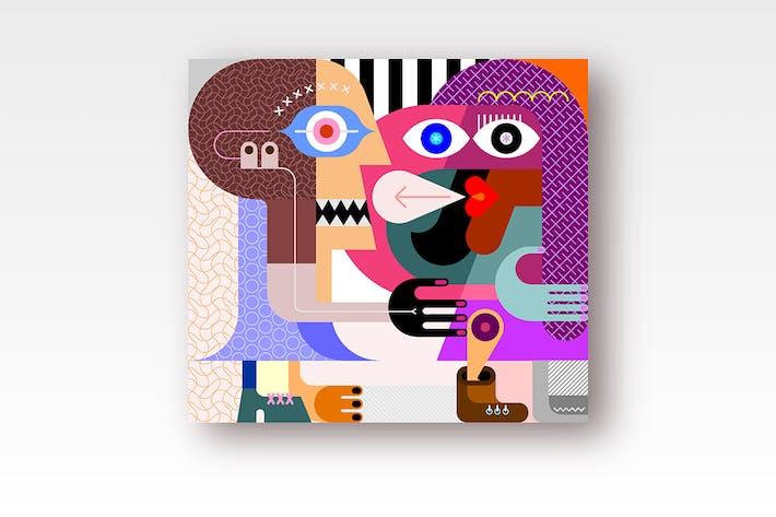 Thumbnail for 2 options: Dos Mujeres Vertical obras de arte Vector