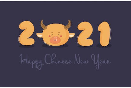 Creative 2021 Chinese New Year with Ox