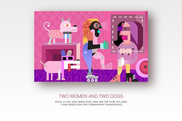 Thumbnail for Two women and two dogs fine art vector painting