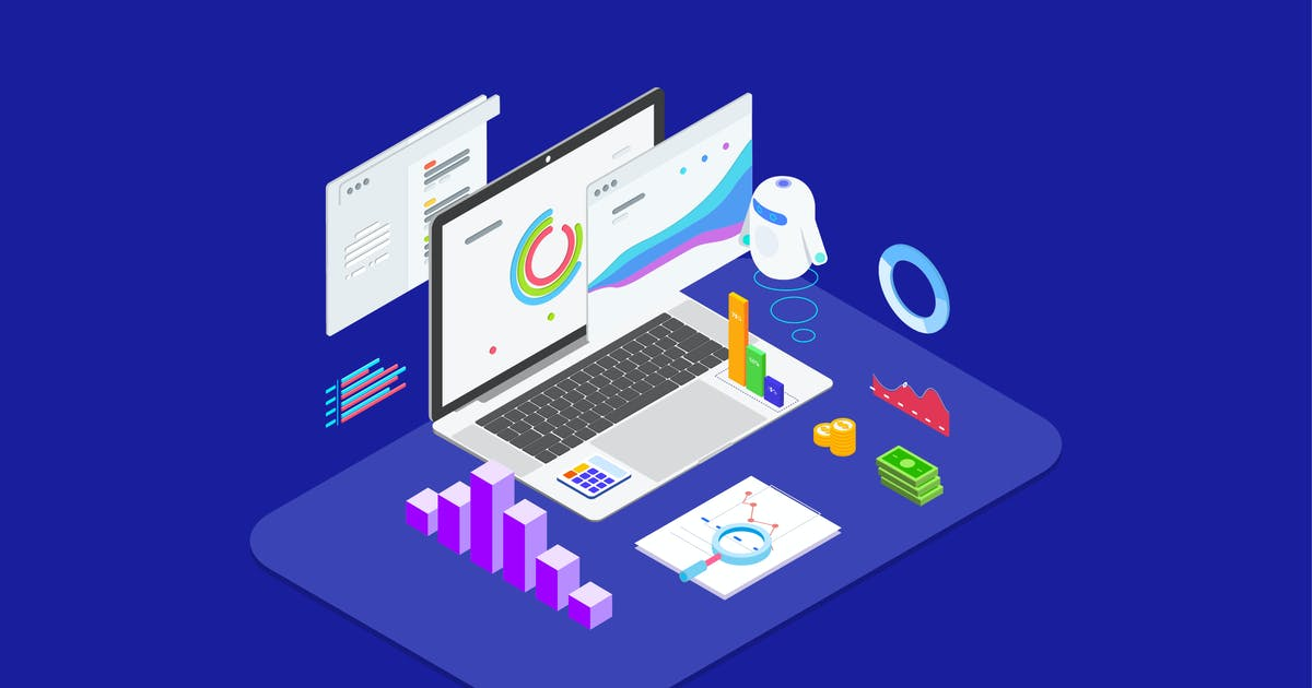 Download Analysis in Financial with AI Isometric - T2 by angelbi88