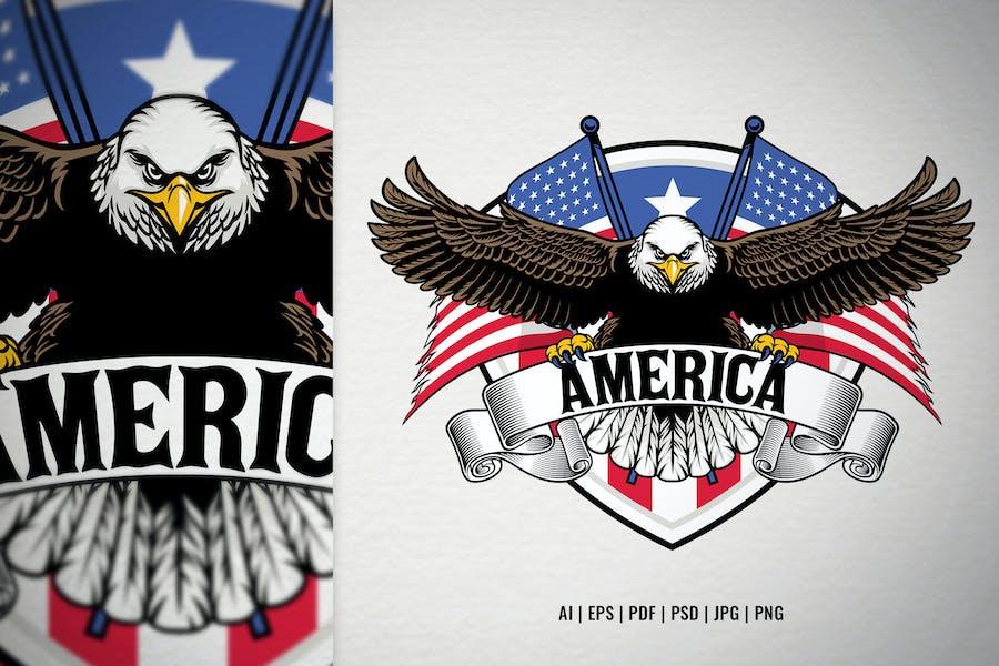 Hand Drawn American Bald Eagle Design
