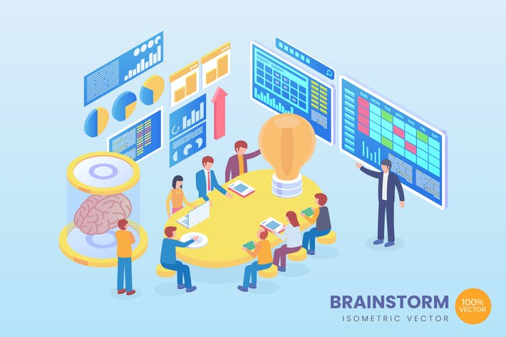 Thumbnail for Isometric Brainstorm Vector Concept