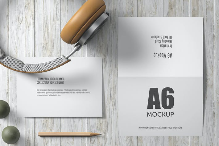 Thumbnail for A6 Landscape Bi-Fold Greeting Card Mockup - Set 1