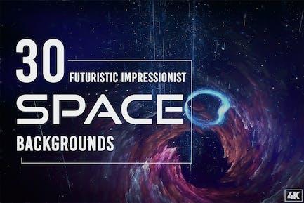 30 futuristische impressionistische Weltraum-Hintergründe