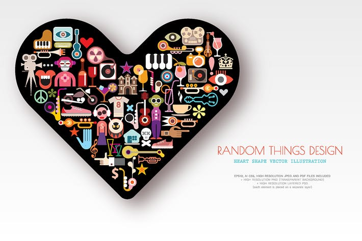 Thumbnail for Random Things Design heart shape vector artwork