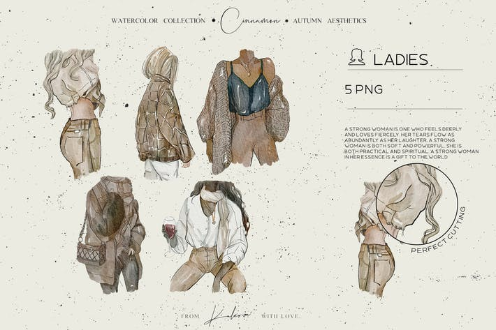 Thumbnail for Autumn ladies - watercolor illustrations set