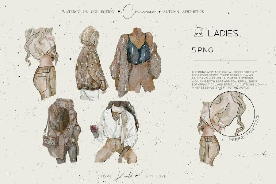 Autumn ladies - watercolor illustrations set