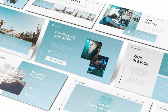 Thumbnail for Music Keynote Presentation Template