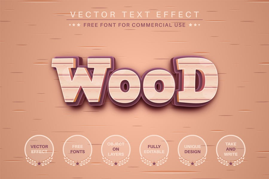 Wood -  Editable Text Effect, Font Style