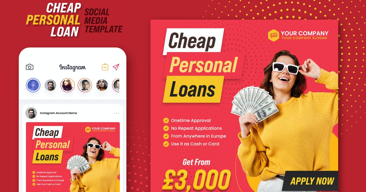 Download Cheap Personal Loans Instagram Banner by BooStock