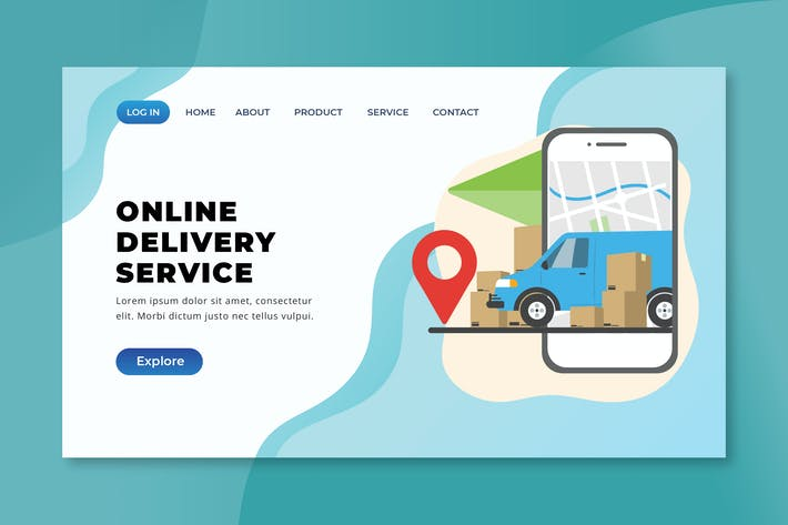 Thumbnail for Online Delivery Service - XD PSD AI Landing Page