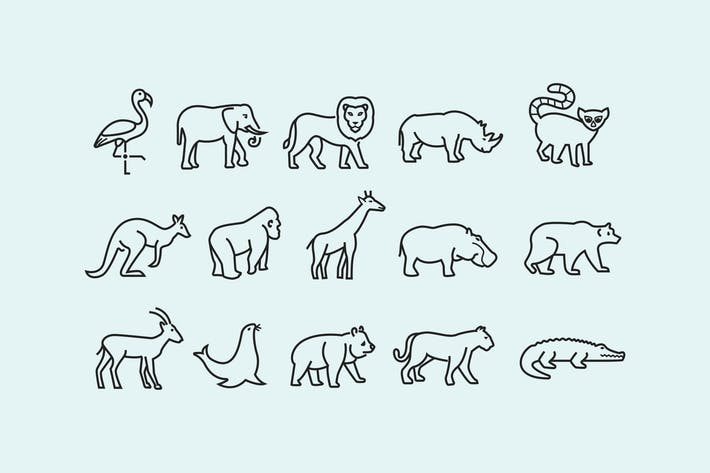 Cover Image For 15 Zoo Animal Icons