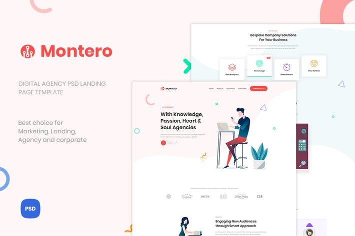 Thumbnail for Montero - Digital Agency PSD Landing Page Template