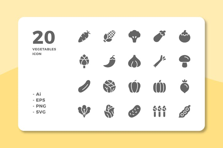 Thumbnail for 20 Vegetables Icons (Solid)