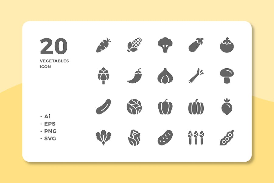 20 Vegetables Icons (Solid)