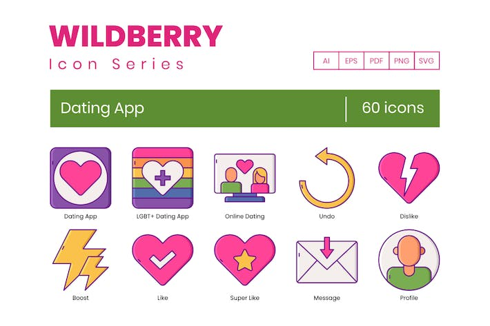 Thumbnail for 60 Dating App Icons - Wildberry Series