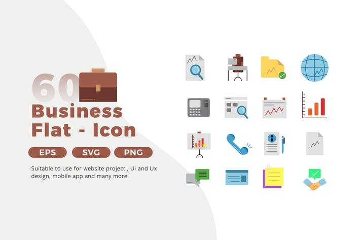 Thumbnail for 60 Business Icon Pack - Flat