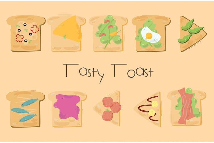Toast-Sandwich-Karikatur-