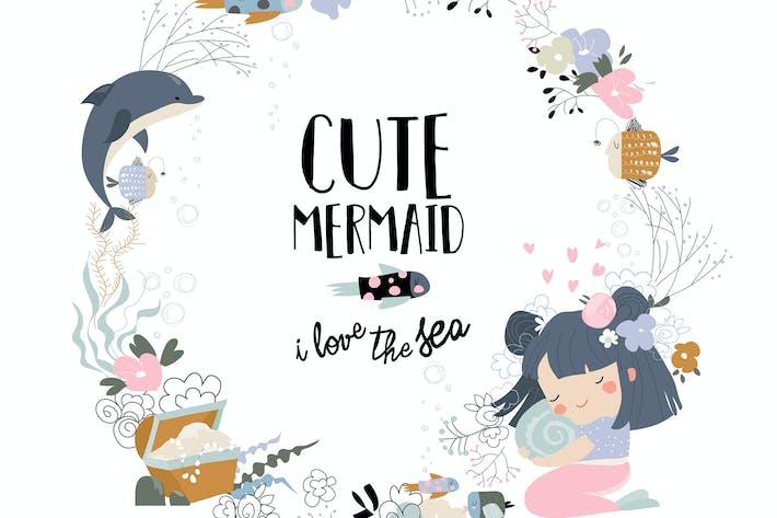 Thumbnail for Vektor -Kurzkranz mit niedlicher kleiner Meerjungfrau und