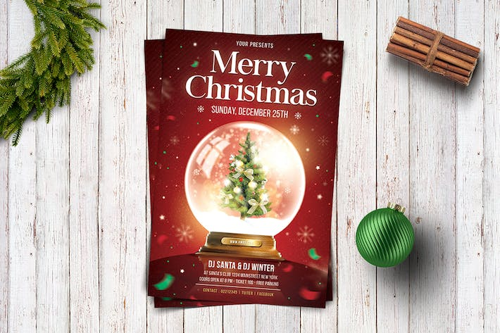 Christmas Snowball Flyer Template Design