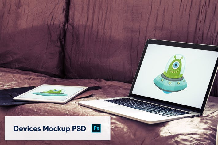 Laptop and tablet in luxury interior - Mockup PSD