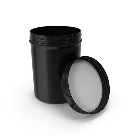 Plastic Jar Wide Mouth Straight Sided 8oz Open Black
