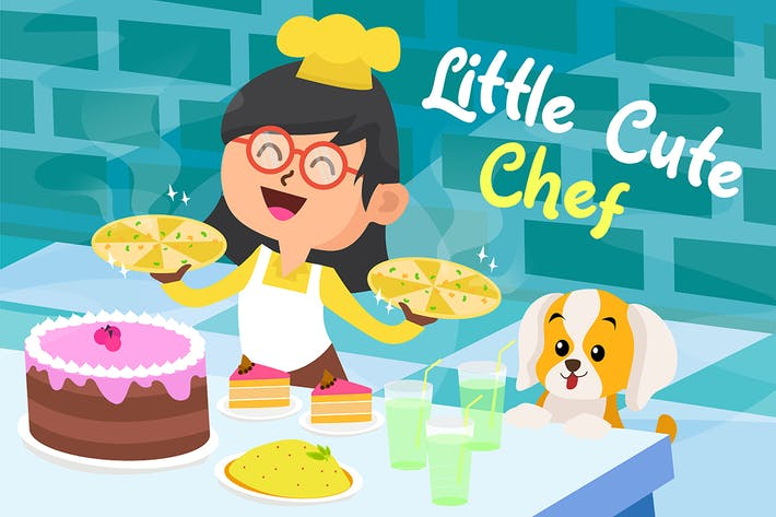 Thumbnail for Cute Little Chef - Vector Illustration