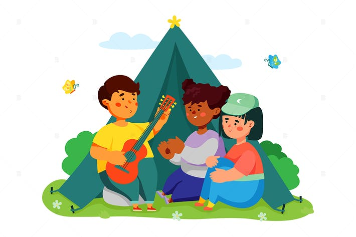 Camping pour enfants - Illustration plate