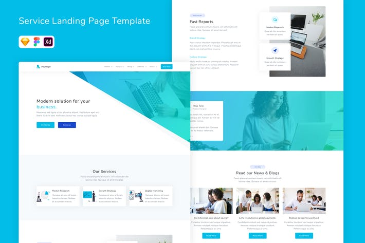 Thumbnail for Service Landing Page Template