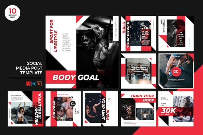 Thumbnail for Kit de médias sociaux d'entraînement de gym PSD et Modèle d'IA