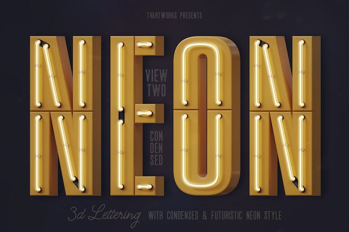 Thumbnail for Condensed Neon 3D Lettering View 2