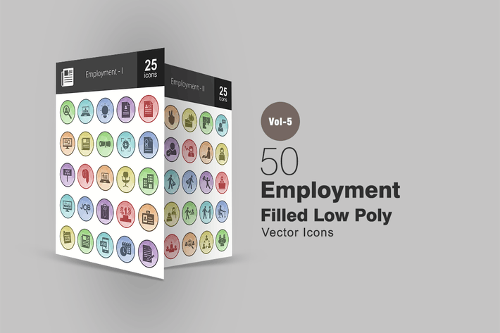 Thumbnail for 50 Employment Filled Low Poly Icons