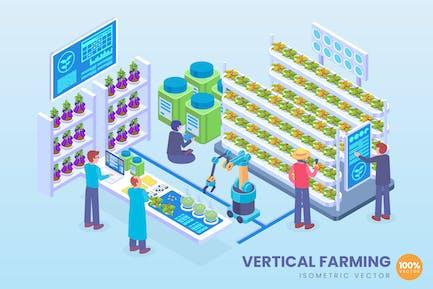 Isometrische vertikale Landwirtschaftstechnik Vektor