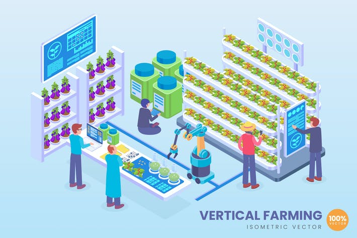 Isometric Vertical Farming Technology Vector