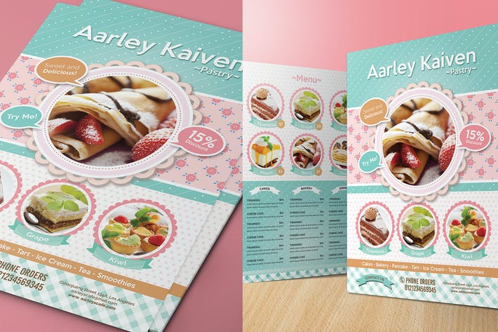 Cover Image For Pastry / Cake Flyer Menu + Business Card
