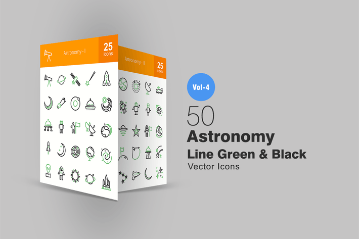 Thumbnail for 50 Astronomy Line Green & Black Icons