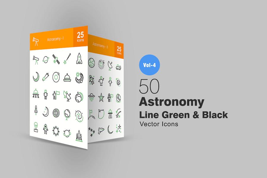 50 Astronomie Linie Grün & Schwarz Icons