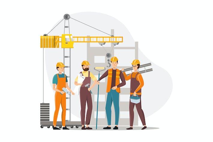 Команда строителей.