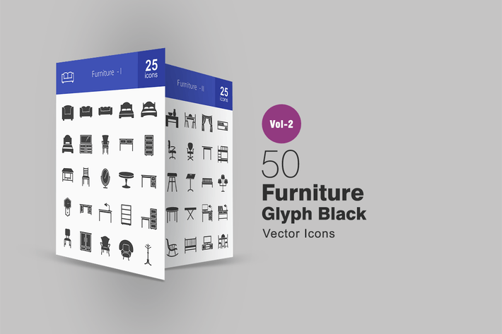 Thumbnail for 50 Furniture Glyph Icons