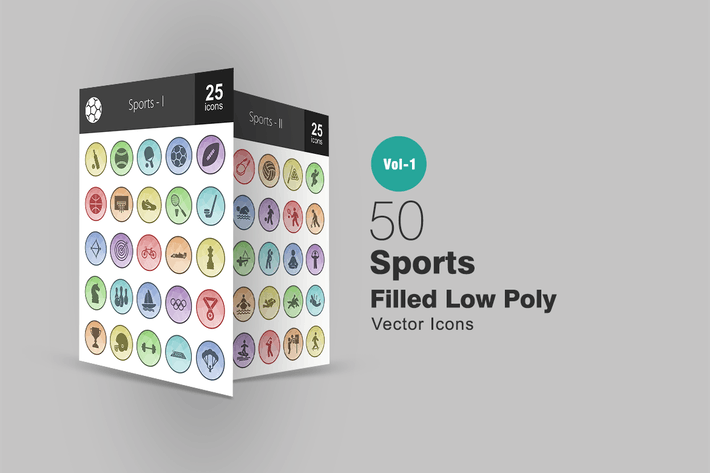 Thumbnail for 50 Sports Filled Low Poly Icons