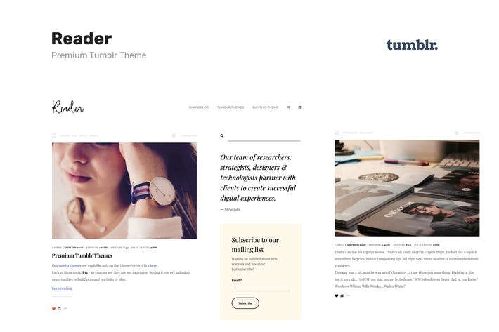 Thumbnail for Reader | Responsive Blogging Tumblr Theme